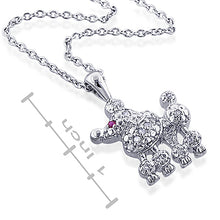 "Load image into Gallery viewer, 0.14cttw Diamond and Created Rose Ruby Poodle Pendant with 16"" chain"