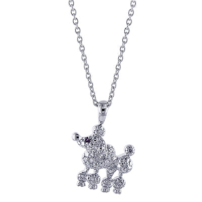 0.14cttw Diamond and Created Rose Ruby Poodle Pendant with 16
