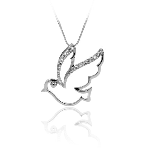 Diamond Accented Sterling Silver Dove Pendant w/chain - 18