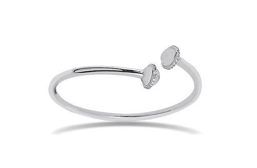 Diamond Bangle in Sterling Silver with diamonds