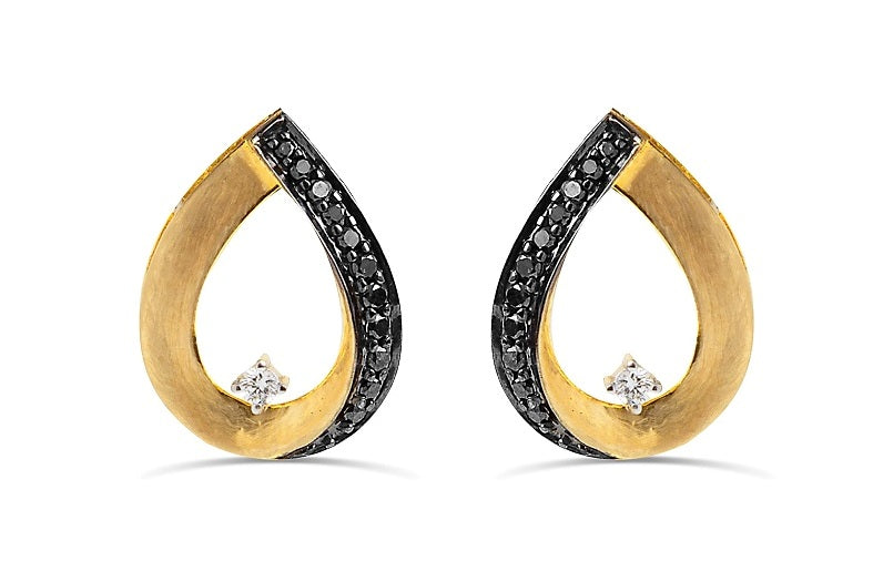 1/4CT Black & White diamond tear drop earrings in 14K Gold matt finish