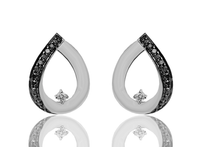 Load image into Gallery viewer, Black & White diamond tear drop earrings in Sterling Silver Matt finish