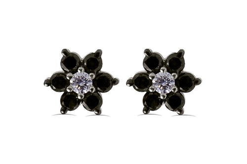 1/2 CT Black & White Diamond Flower Stud Earrings in 14K Gold