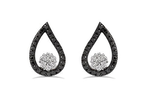Black & White diamond tear drop earrings in 925 Sterling Silver