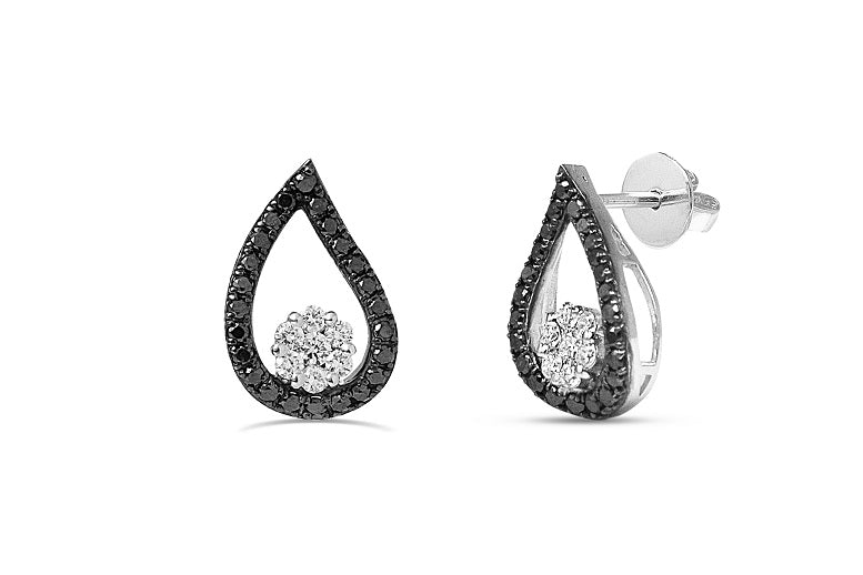 Black & White diamond tear drop earrings in 14K Gold