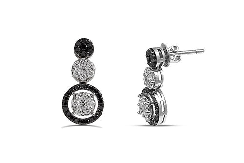 1.35CT Black & White diamond Double Flower earrings in 925 Sterling Silver