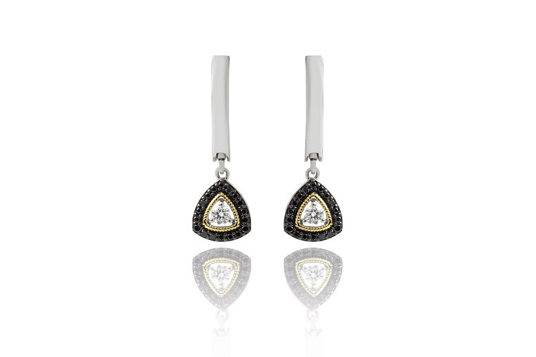 0.61CT Black & White Diamond Dangle Earrings in Sterling Silver