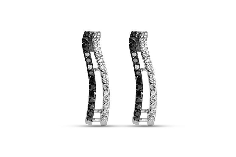 0.38CT Black & White Diamond Sloping Half Hoop Earrings