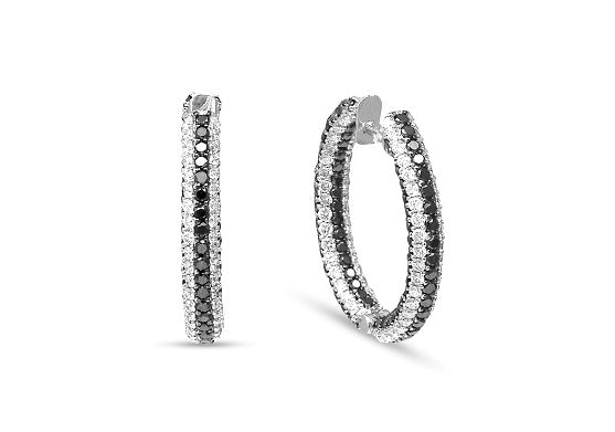 3.75 Black & White Diamond Hoop Earrings in Sterling Silver