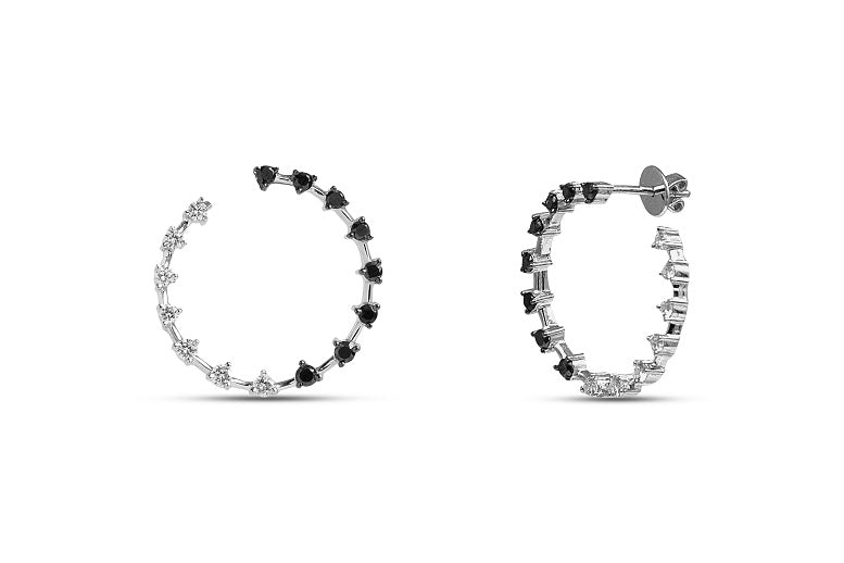 1.38CT Black & White Diamond Circle Earrings in Sterling Silver