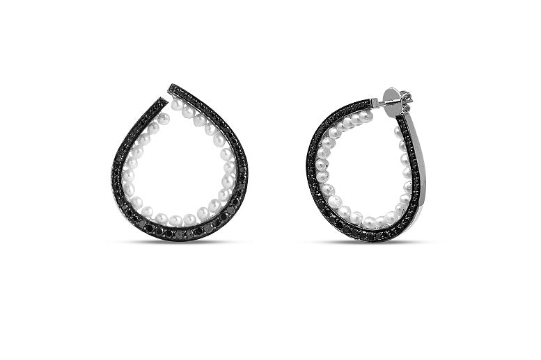 1.50CT Black Diamond & Pearl Pear Earrings in 14K Gold