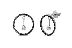 1/2CT Black & White diamond Circle Earrings in 14K Gold