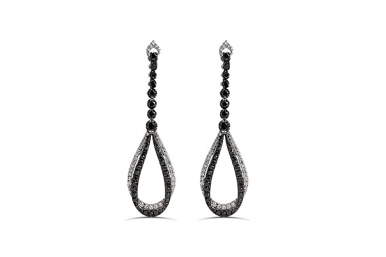 1.64 CT Black & White Diamond Teardrop Earrings in Sterling Silver