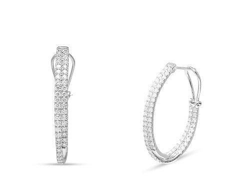 1.75CT Diamond Hoop Earrings in 14K White Gold