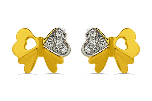 Diamond accented Bow Earrings in Sterling Silver