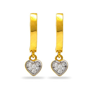Diamond accented dangling heart earrings in Sterling Silver
