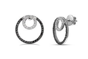 0.63CT Black & White diamond circle earrings in Sterling Silver