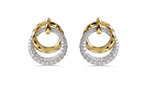 2.65CT TW Diamond interlocking circle Earrings  in 14K Gold