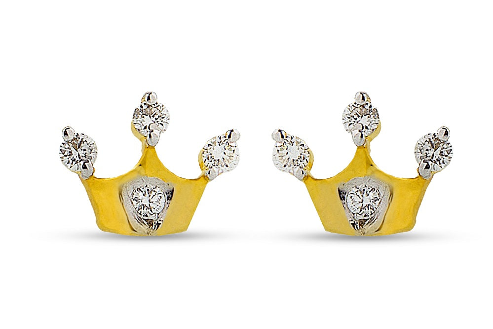 Diamond Crown Earrings for your Princess in Sterling Silver