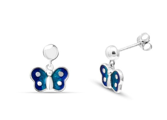 Blue Butterfly earrings in Sterling Silver