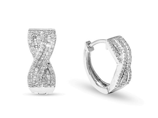 1/4ct TW Criss-Cross Diamond Earrings