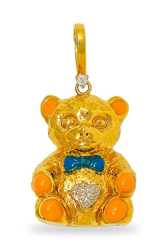 Diamond Accented Teddy bear charm in 14K Gold
