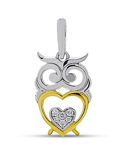 Diamond accented Owl pendant in Sterling Silver