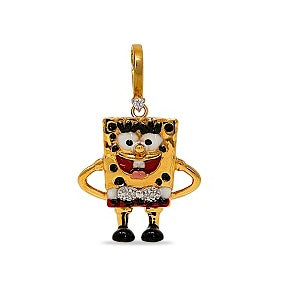 Diamond accented Spongebob Charm in 14K Gold