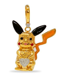 Diamond accented Pikachu Charm in 14K Gold