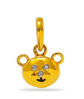 Diamond accented teddy bear pendant in 925 Sterling Silver