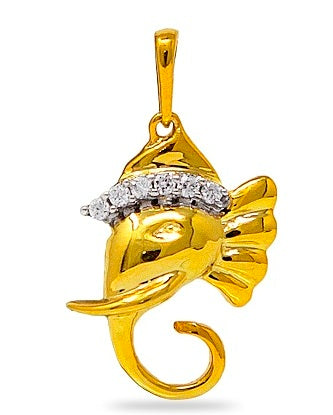 Ganesha Pendant with diamonds in 925 Sterling Silver