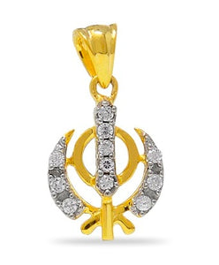 Sikh Khanda Pendant with diamonds in 925 Sterling Silver