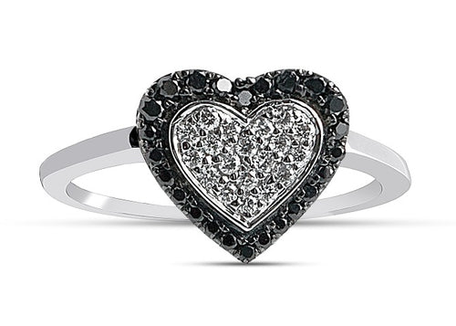 1/3CT Black & White Diamond Heart Ring