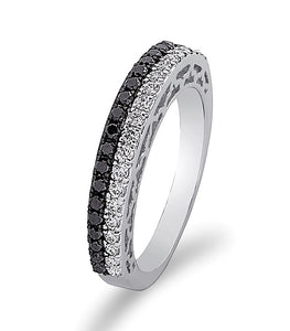 1/2 CT Black & White Diamond Band