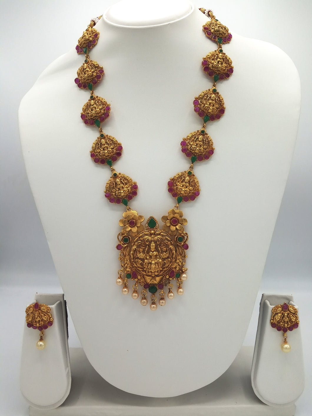 Bridal / Temple Jewellery Necklace + Earrings Set