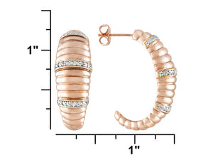 Diamond Accent 18k Rose Gold Over Bronze J-hoop Earrings