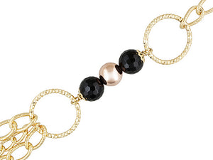 Polished & Textured 18k Yellow Gold Over Bronze Diamond Cut With Onyx Necklace