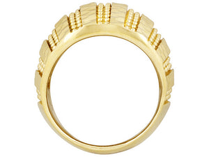 Diamond Cut Bead Design 18k Yellow Gold Over Bronze Ring