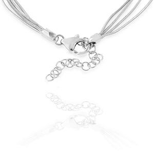 Four strand Satin Beads Platinum over Bronze Necklace