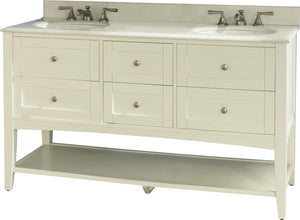 "Fairmont 1512-VH6021D Shaker Americana 60"" Double Bowl Vanity Open shelf Polar White"