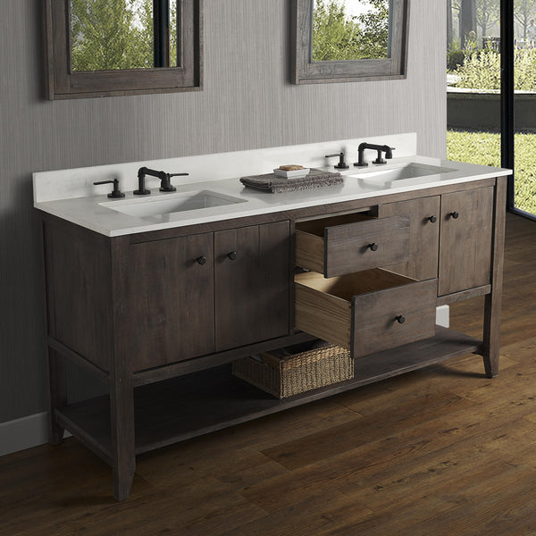 "Fairmont 1516-VH7221D River View 72"" Double Bowl Open Shelf Vanity Coffee Bean"