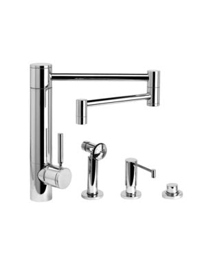 "Waterstone 3600-18-3 Hunley Kitchen Faucet - 18"" Articulated Spout 3pc. Suite"