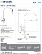 Load image into Gallery viewer, Waterstone 3825-3 Fulton Kitchen Faucet 3pc. Suite