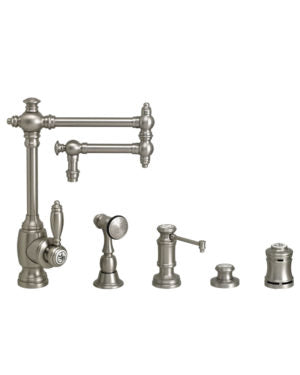 "Waterstone 4100-12-4 Towson Kitchen Faucet - 12"" Articulated Spout 4pc. Suite"