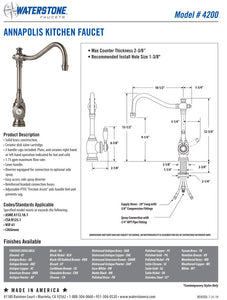 Waterstone 4200 Annapolis Kitchen Faucet