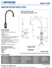 Load image into Gallery viewer, Waterstone 4300-1 Hampton Kitchen Faucet w/Side Spray