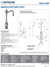 Load image into Gallery viewer, Waterstone 4800 Annapolis Prep Faucet