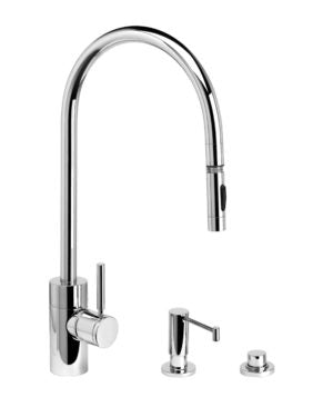 Waterstone 5300-3 Contemporary Extended Reach PLP Pulldown Faucet 3pc. Suite