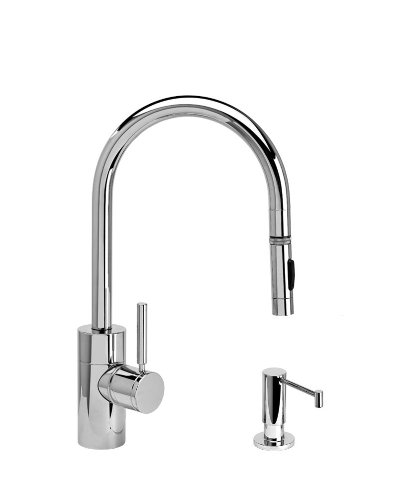 Waterstone 5410-2 Contemporary Standard Reach PLP Pulldown Angled Spout Faucet w/Toggle Sprayer 2pc Suite