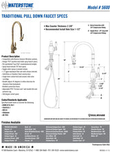 Load image into Gallery viewer, Waterstone 5600 Traditional Standard Reach PLP Pulldown Faucet